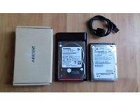 """GREAT CONDITION"" 2 HARD DISKS (1TB THOSIBA + 500GB HITACHI) /2.5 inch External Hard Drive , Black."