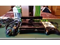 xbox 360 250GB Slim with 34 games, Kinect ,3 headsets 4 controllers