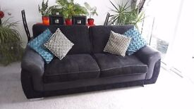 Black 3 person sofa with chair. Great condition, nearly new,selling due to house move