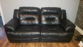 Black leather electric recliner sofas