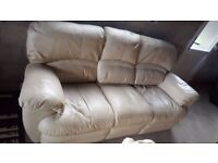 Cream Leather 3 Seater Recliner Sofa & Matching 2 Seater