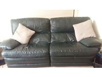 Green leather sofa and arm chair