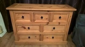 Tall display cupboard and 7 draser chest