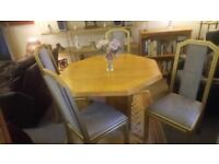 Octagonal dining table & 4 chenille chairs £75. CHEAP local DELIVERY Stalybridge SK15 3DN.