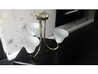 Gold and frosted white glass 3-armed ceiling light from Ikea. Immaculate condition