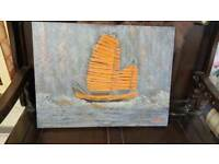 Chinese Junk Boat Abstract By Local Artist Maya