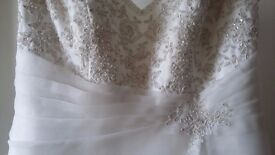 Wedding Dress must go. pearl beaded on front, back & on the train. approx size 18/20 £150