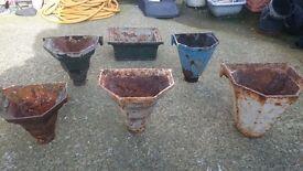 Old cast iron gutter hoppers