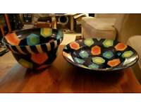 Pair of Large Painted Ceramic Bowls