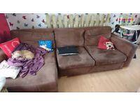 Brown suede right corner sofa