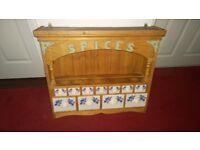 Decorative pine spice rack with 11 ceramic drawers
