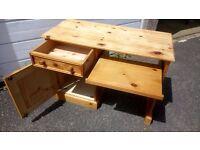 solid wooden desk with keyboard holder