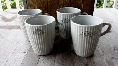 Pillivuyt France Light Gray Porcelain Plisse Coffee Mugs, Set of Four – New