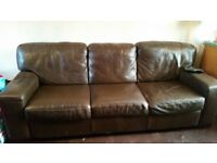large 3+2 brown leather sofas free