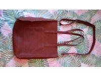 Brown faux leather handbag