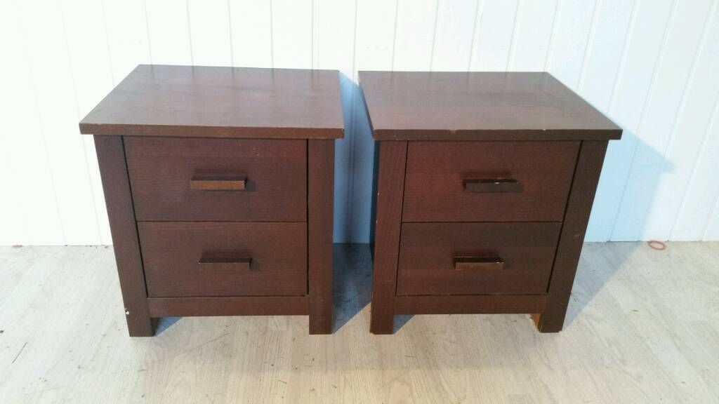 Pending Collectuon Pair Of Brown Bedside Cabinets