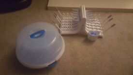 Bottle drying rack and microwave steamer
