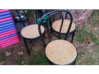 very nice trio of bamboo woven chairs, with japlac finish,needs good home, in reasonable condition