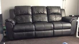 2 x 3 seater leather recliner sofas