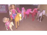 Barbie horses and 2 dolls