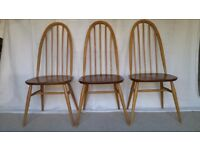 Ercol Dining Chairs X 3