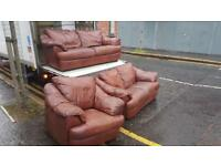 3 2 1 brown leather sofa