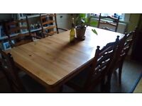 Solid pine large dining table. 6 seater to 10 seater with extension piece.
