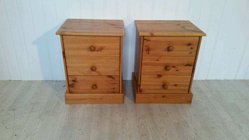 Pending Collection Pair of Solid Pine Bedside Cabinets