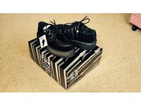 NEW T.U.K. Shoes Black Suede With Black Interlace Viva High Sole Creeper