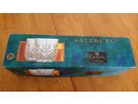 SALZBURG 24% LEAD CRYSTAL 4 GLASSES CRISTAL de FLANDRE BOXED