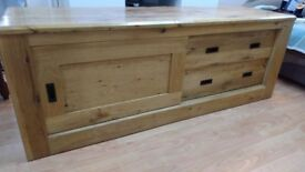 solid oakwood tv unit