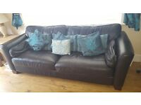 Black two seater leather settee