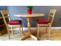 Drop leaf pine table and chairs