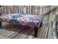 Kilim upholstered ottoman coffee table kilim upholstered footstool antique legs kilim upholstery