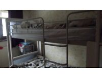 Lovely Brushed Steel and White Wood Bunk Bed with additional storage shelves