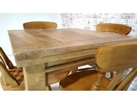 Folding, Ergonomic, Space Saving, Extendable Extending Rustic Farmhouse Dining Table Set Drop Leaf