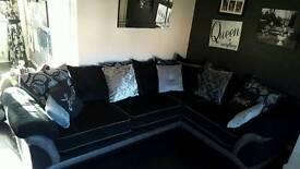 Beautiful black, grey and and silver corner sofa