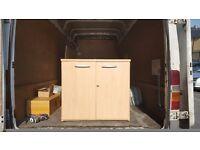 2 door storage cabinet in light maple with silver handles