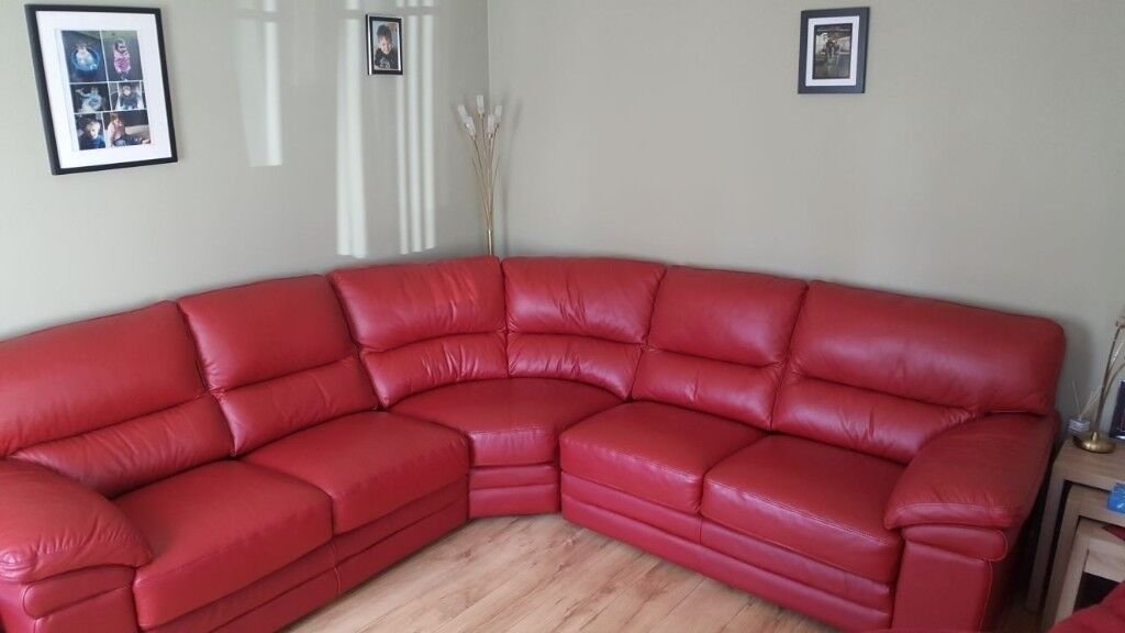 Reduced Price Red Leather Corner Sofa And 2 Chairs For Quick