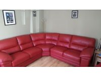REDUCED PRICE Red Leather Corner Sofa and 2 chairs. REDUCED FOR QUICK SALE