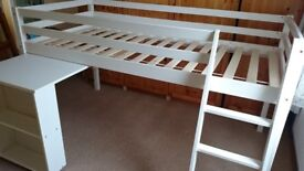 Child's Mid-Sleeper Bed (White) with pull out desk (very good condition)