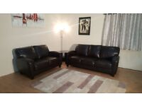 Ex-display Linea Buffalo brown leather 3+2 seater sofas