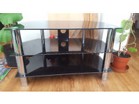 Glass Stand For Plasma & LCD/LED TV Up to 37-inch or 40kg - Black Glass with Chrome Legs
