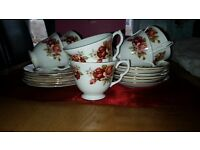 Gainsborough bone china red rose 18 piece teaset with no cracks or chips. £20