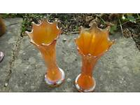 Set of two carnival ware glass marigold vases
