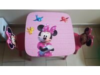 Childrens Minnie Mouse table with 2chairs