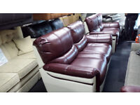 EX-DISPLAY BURGANDY/CREAM STATIC 3 SEATER +ELECTRIC 2 SEATER RECLINER