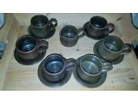 Pottery set of 6 cups+saucers