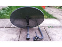 Satellite Dish (77cm x 56cm) + QUAD LNB + WALL MOUNT