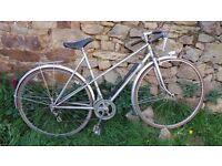 Vtg Retro French Raymond Poulidor Ladies Silver Mixte Town Road Bike Bicycle Cycle
